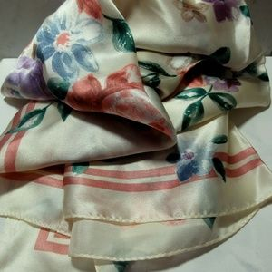 TALBOTS 100% Silk Square Floral Hand Rolled Scarf